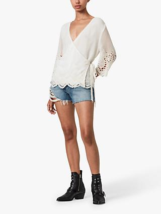 AllSaints Zariah Long Sleeve Floral Lace Top, White