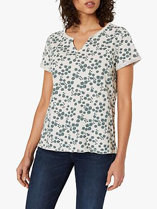 White Stuff Short Sleeve Daisy Tee, Cream