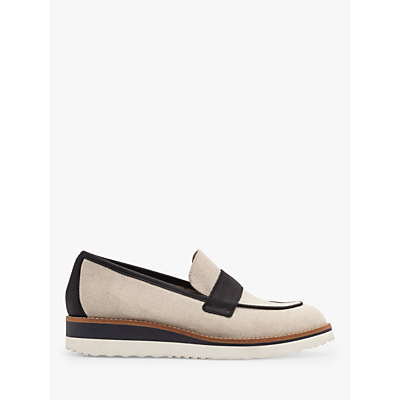 Product photo of Boden betty linen canvas and leather loafers natural navy