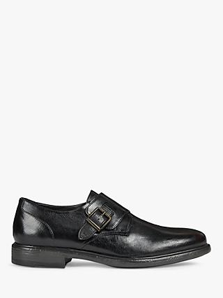 Geox Leather Monk Shoes, Black