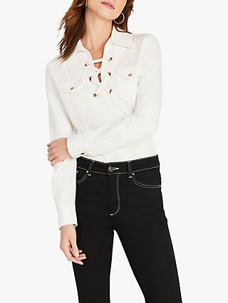 Damsel in a Dress Tatum Eyelet Cross Strap Shirt, Ivory