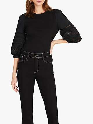 Damsel in a Dress Marloe Broderie Sleeve Cotton Blouse, Black