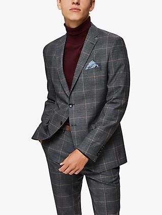 SELECTED HOMME Recycled Polyester Slim Fit Check Suit Jacket, Grey
