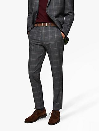 SELECTED HOMME Recycled Polyester Slim Fit Check Suit Trousers, Grey