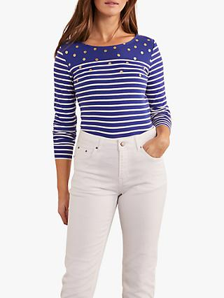 Boden Breton Spot Long Sleeve Top, Blue
