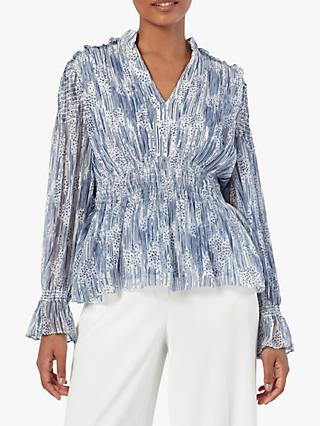 The Fold Verbania Blouse, Blue/Multi