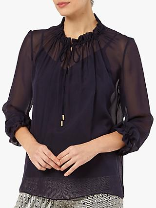The Fold Lancaster Silk Blouse, Navy