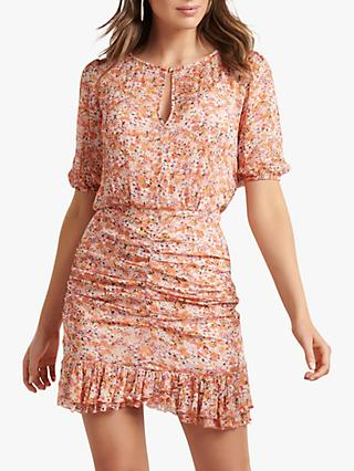 Forever New Kylie Ditsy Floral Mini Dress, Orange/Multi