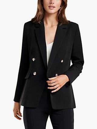 Forever New Leona Double Breasted Blazer, Black