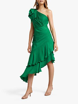 Forever New Elodie Paisley Asymmetric Ruffle Detail Dress, Parrot Green