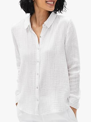 EILEEN FISHER Organic Cotton Stripe Shirt, White