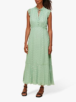 Whistles Annabel Metallic Polka Dot Dress, Mint
