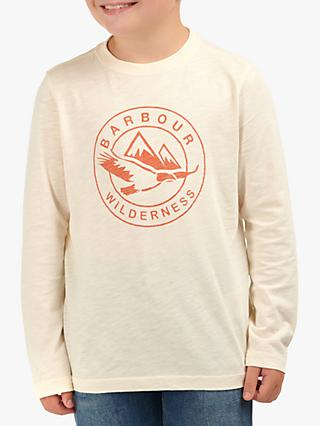 Barbour Fogle Wilderness Boys' Graftham Long Sleeve Logo T-Shirt, Neutral