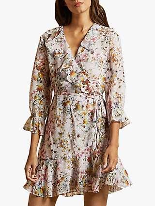 Ted Baker Grayce Floral Print Wrap Dress, Pink