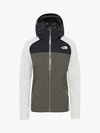 The North Face Stratos Women's Waterproof Jacket, New Taupe Green/Vintage White/TNF Black
