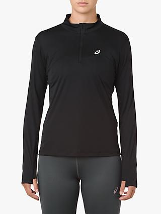 ASICS Silver Long Sleeve 1/2 Zip Running Top, Performance Black
