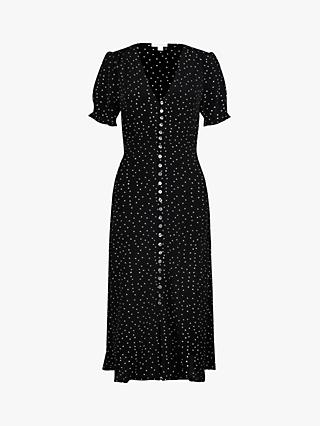 Monsoon Oliver Spot Print Dress, Black