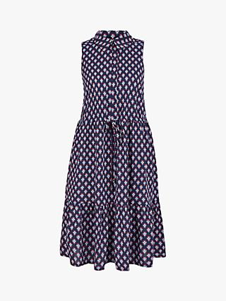 Monsoon Tile Print Short Dress, Navy
