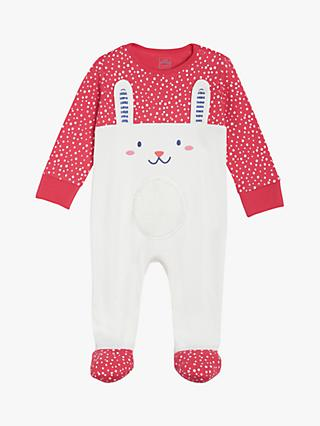 Mini Cuddles Baby Bunny Sleepsuit, Red/White