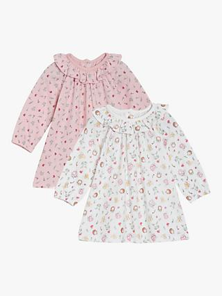 Mini Cuddles Baby Animal Ruffle Collar Dress, Pack of 2, Multi