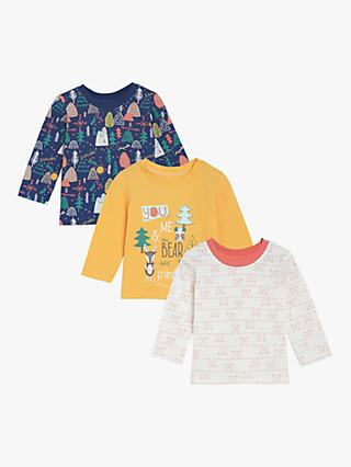 Mini Cuddles Baby Woodland Long Sleeve Tops, Pack of 3, Multi
