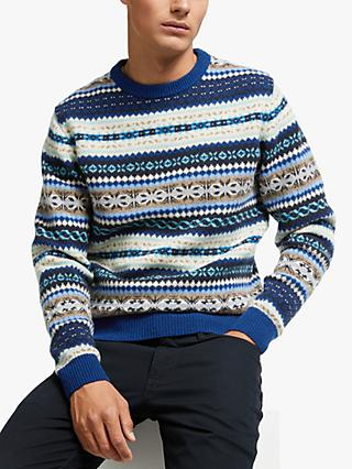 GANT Fairisle Print Crew Neck Jumper, Blue