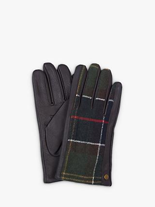 Barbour Weldon Tartan Leather Gloves, Brown