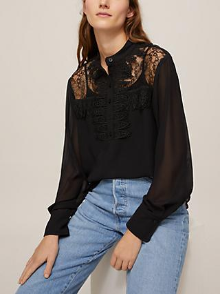See By Chloé Lace Insert Blouse, Black