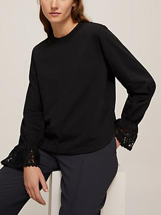 See By Chloé Lace Cuff Top, Black