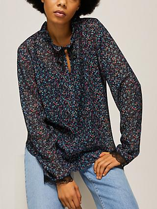 See By Chloé Floral Print Tie Neck Blouse, Blue