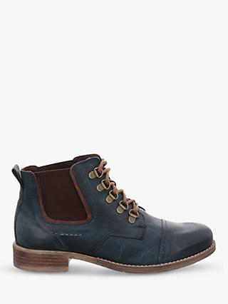 Josef Seibel Sienna 09 Petrol Lace Up Leather Chelsea Boots, Blue