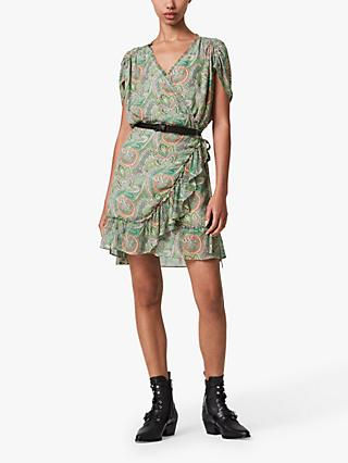 AllSaints Zini Paisley Print Wrap Dress, Green