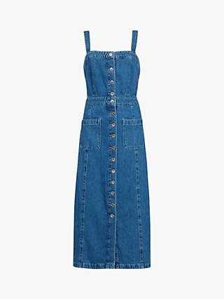 AllSaints Elsie Denim Button Front Dress, Blue