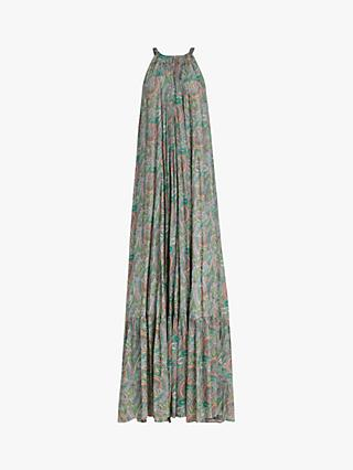 AllSaints Roma Sleeveless Paisley Print Tunic Maxi Dress, Green/Multi