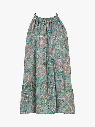 AllSaints Roma Sleeveless Paisley Print Tunic Top, Green/Multi