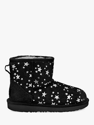 Buy UGG Children's Classic Mini II Star Print Sheepskin Boots, Black, 12 Jnr Online at johnlewis.com