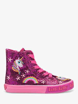 Lelli Kelly Children's Glitter Unicorn High Top Trainers, Pink