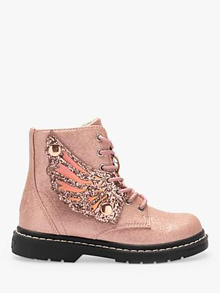 Lelli Kelly Children's Fairy Wings Angel Lace-Up Boots, Pink Pearled
