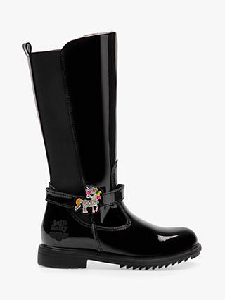 Lelli Kelly Children's Frances Tall Boots, Black Patent