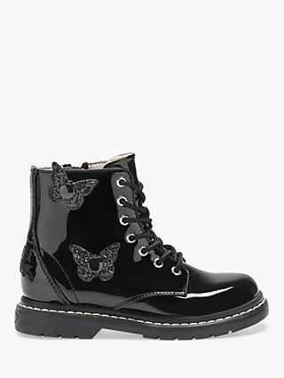 Lelli Kelly Children's Fairy Wings Classic Lace-Up Boots, Black Patent