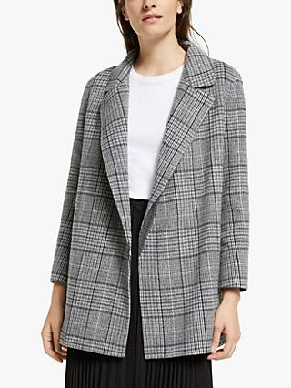 Theory Check Wool Cashmere Jacket, Grey