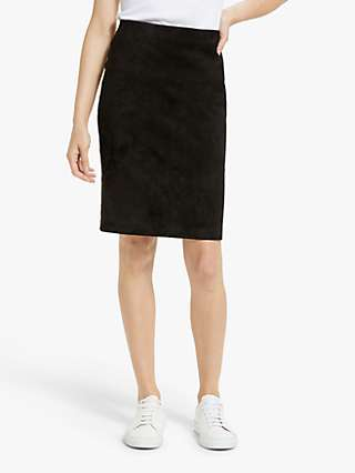 Theory Suede Pencil Skirt, Black