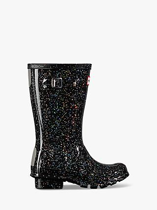Hunter Children's Original First Giant Glitter Waterproof Wellington Boots, Black