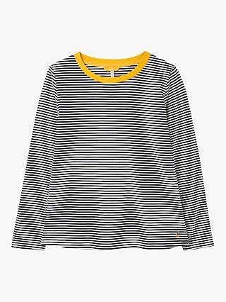 Joules Selma Long Sleeve Round Neck Cotton Top, Navy/Stripe