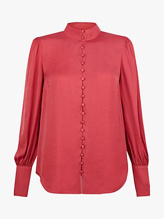 Monsoon Penny Button Front Blouse, Rose