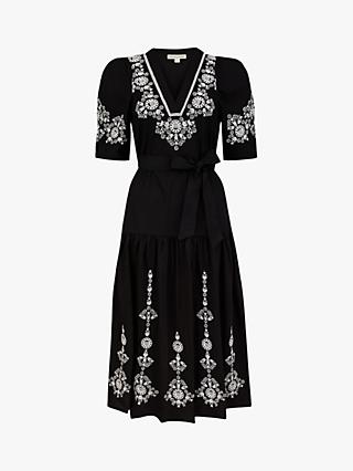Monsoon Enya Embroidered Cotton Midi Dress, Black
