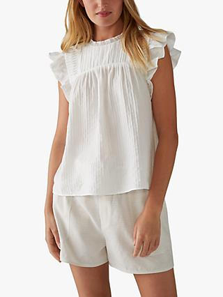 Club Monaco Sleeveless Ruffle Top, White