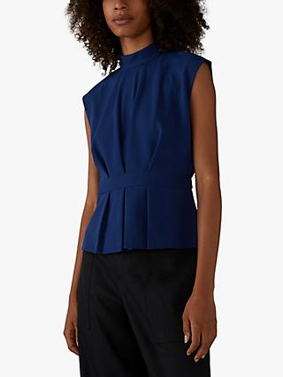 Club Monaco Pleated Waist Funnel Neck Top, Blue Depths