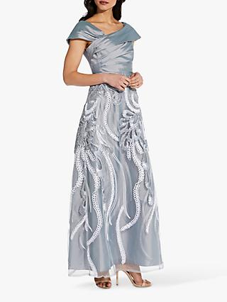 Adrianna Papell Soutache Embellished Maxi Dress, Grey