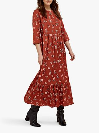 People Tree Stina Floral Maxi Dress, Brown/Multi